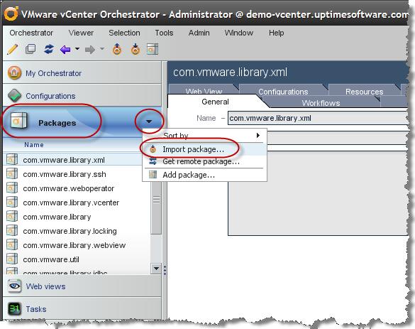 vSphere Integration   Orchestrator Package Details   uptime Software
